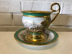 This is a nice antique French Sevres, I believe 1804 based on the marking, porcelain large cabinet cup & saucer with painted town, boats & sea decoration. It is signed by the artist in pic 9 and is beautifully executed. | eBay!