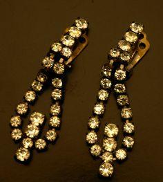 Vintage Art Deco Fashion Jewelry Rhinestone / Diamanté Earrings / Ear Pendants