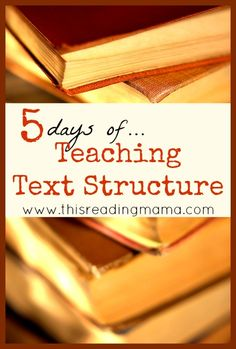Days of Teaching Text Structure to Readers Tons of info and resources about how to teach text structure. So important for reading comprehension!Tons of info and resources about how to teach text structure. So important for reading comprehension! Reading Lessons, Reading Skills, Teaching Reading, Reading Resources, Teaching Ideas, Teaching Plot, Reading Activities, Teacher Resources, Middle School Reading