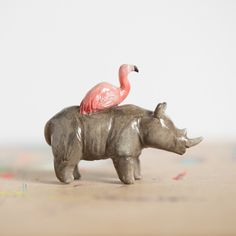 Le Rhino & Flamingo Duo Totem - Muses Collection