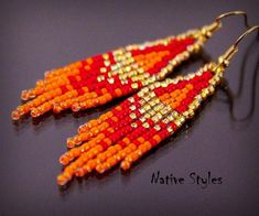 "2.5""Small Native American Style Earrings~Red Orange Gold Glass Seed Beaded~Native Indian Style~Small Boho Fringe Earrings~Tiny Beads Woven"
