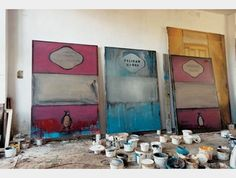 Three unfinished paintings.Harland Miller