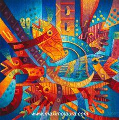 Alegría en la fiesta mayor del agua 120 x 120 cm Tapiz tejido a mano