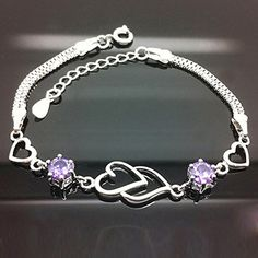 ATJC Chic 925 Silver Double Heart Love Purple Crystal Bracelet Chain Women Girl Gift *** Click image to review more details.