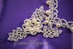 """Купить Свадебное украшение на шею, авторское колье """"Вальс цветов"""" - белый, украшение, украшение на шею"""
