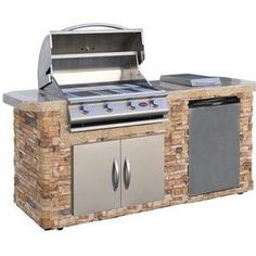 Turn your backyard into a state-of-the-art outdoor kitchen with this Cal Flame BBQ Island. It features a four-burner stainless steel gas grill and a stainless steel refrigerator. Click through to read more about this stunning outdoor kitchen-- a dream for Home Depot, Cal Flame, Propane Gas Grill, Outdoor Kitchen Countertops, Bbq Island, Stainless Steel Refrigerator, Built In Grill, Outdoor Umbrella, Outdoor Kitchen Design