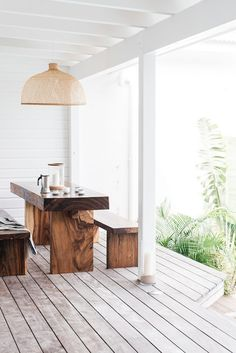 Love the pendant and wooden table and benches. Modern design and decor inspiration for home outdoor spaces, patios, and backyards. Outdoor Spaces, Outdoor Living, Outdoor Decor, Indoor Outdoor, Outdoor Kitchens, Rustic Outdoor, Outdoor Tables, Outdoor Seating, Home Interior