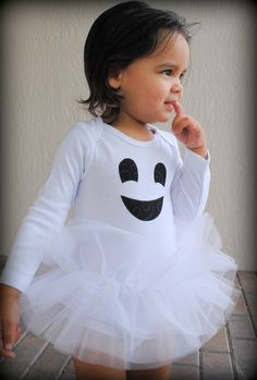 Friendly Ghost Baby Girl Tutu Bodysuit - Halloween Ghost Costume - Sizes Newborn - 24 Months. $29.00, via Etsy.
