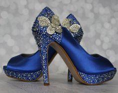 Wedding Shoes Champagne Platform Peeptoes by EllieWrenWeddingShoe