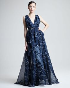 Carolina Herrera Handpainted Silk Organza Gown