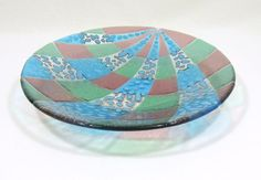 Fused glass bowl with reactive glass. Sky blue green by RamizGlass, $64.00