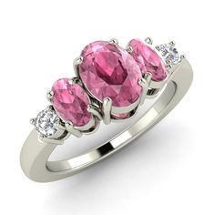Natural Oval Cut Pink Tourmaline & SI Diamond Engagement Ring  In 14k White…