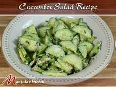 Cucumber Salad - A World Class Recipe by Manjula    has fresh mint, ginger juice, and fennel seeds
