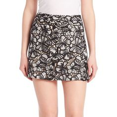Alice and Olivia Riley Floral A-Line Mini Skirt (€305) ❤ liked on Polyvore featuring skirts, mini skirts, apparel & accessories, mini skirt, zipper skirt, embroidered skirt, a line mini skirt and short floral skirt