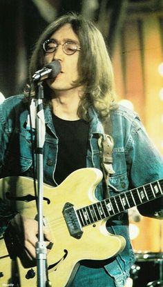 John Lennon.  Epiphone Casino. I have one. Unmistakable sound.