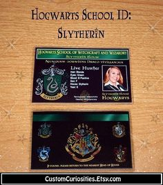 Cute ID cards for a Harry Potter party.