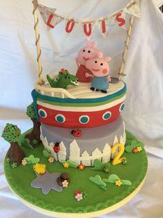 Peppa Pig & George on Grandpa Pigs boat themed birthday cake