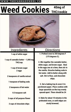 If you're interested in making weed cookies, you've come to the right place! This is an old-school chocolate chip cookie recipe infused with cannabis. If you're just skimming this article make sure to read the dosage guide. Weed Recipes, Marijuana Recipes, Cannabis Cookbook, Cannabis Edibles, Cookie Recipes, Yummy Food, Chocolate, Recipes, Cookies