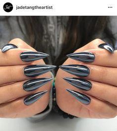 Gun metal nails. White chrome over black