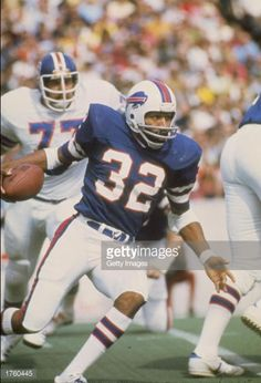 J Simpson of the Buffalo Bills in action during a game against the Denver Broncos at Rich Stadium in Buffalo New York