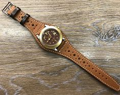 This DIY watch strap will not only save you loads of money, but will also show off your creative and stylish side. Leather Cuffs, Real Leather, Brown Leather, Ostrich Legs, Grey Watch, Leather Watch Bands, Looks Cool, Brogues, Leather Working