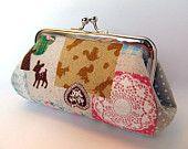 Coin purse Kawaii Neutral Pink Woodland animals Lace doily Zakka Patchwork Clasp purse