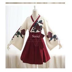 Style V - Neck A-Line skirt Composition Polyester Care Instructions Machine wash cool Short Kimono Dress, Traditioneller Kimono, Japanese Kimono Dress, Long Sleeve Kimono, Kimono Outfit, Kimono Fashion, Lolita Fashion, Fashion Outfits, Traditional Japanese Kimono