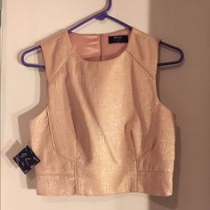 Nude/gold crop top NWT Bought this to wear on my bachelorette but never worn! NWT Nasty Gal Tops Crop Tops