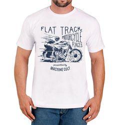 Camiseta Branca – Moto Flat Track - Machine Cult - Kustom Shop | A loja das camisetas de carro e moto