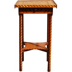 Checkerboard Marquetry Table made by Conn. State Prisoner, 1895 | From a unique collection of antique and modern side tables at https://www.1stdibs.com/furniture/tables/side-tables/
