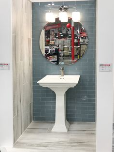 12 Gorgeous Options for Backsplash Tile - Flooring Decor Install Backsplash, Backsplash Tile, Small Bathroom, Master Bathroom, Blue Subway Tile, Bathroom Decor Pictures, Floor Decor, Model Homes, Kitchen Design