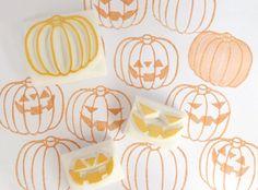 Smiley pumpkin stamps Jack o' Lantern by JapaneseRubberStamps