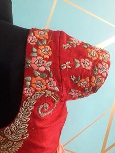 Beautiful peach designer saree and orange color designer blouse with floret lata design hand embroidery thread work. Embroidery Suits Design, Embroidery Fashion, Hand Embroidery, Embroidery Designs, Embroidery Blouses, Embroidery Works, Couture Embroidery, Blouse Designs Silk, Bridal Blouse Designs