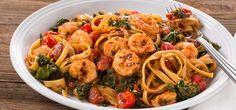 Spicy Shrimp and Kale Linguine