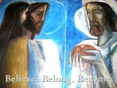 Jesus and disciples at Emmaus: