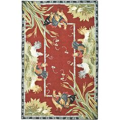 Update your home decor with a new rug Area rug is hand-hooked of 100-percent wool Country rug features a burgundy border with olive, sage, gold, red, beige and ivory accents