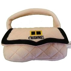 Chewnel Dog Toy Handbag toy.  Plush exterior, poly filled interior with a squeaker that adds additional enjoyment at playtime.
