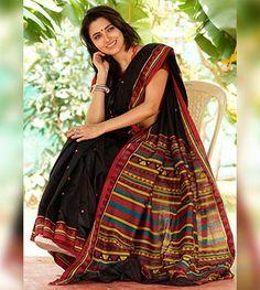 Cotton Sarees - Black Dongria Cotton Saree By Utkalamrita PC 20954 - Thumbnail