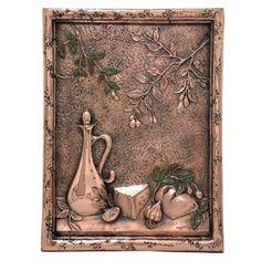 Design Tuscany Mediterranean Olives & Bread Backsplash Mural Tile, Copper, As Shown Kitchen Drawing, Tuscan Design, Copper Accents, Mediterranean Home Decor, Kitchen Backsplash, Vintage World Maps, Design Inspiration, Drawings, Tuscany