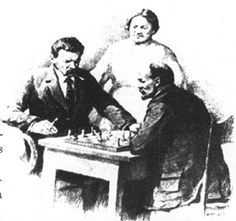 Trotsky and Lenin play chess.