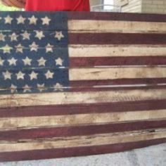 Pallet made into American Flag!!