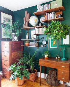 Home Office Cozy Apartment Therapy 18 Ideas Cozy Apartment, Apartment Interior, Apartment Therapy, Apartment Plants, White Apartment, Bedroom Apartment, Room Decor For Teen Girls, Dark Green Walls, Bedroom With Green Walls