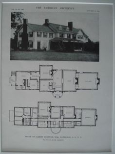 A Beautifully Detailed, Original Lithograph of the House of Albert Francke, Esq. in Lawrence, Long Island , NY. EARLY PHOTOGRAPH. Mr. William Adams, Architect. From the American Architect and Building