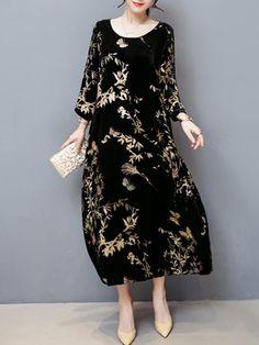 #BerryLook - #berrylook Round Neck Printed Velvet Pocket Maxi Dress - AdoreWe.com