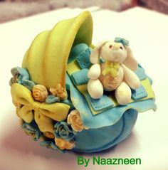 Sugarpaste baby carriage cake topper by Naazneen