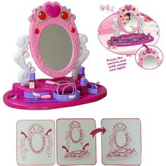 GIRLS KIDS GLAMOUR MIRROR BEAUTY MAKEUP DRESSER TOY W/ LIGHT \u0026 MUSIC PLAY SET  sc 1 st  Pinterest & Role play children dressing table toy makeup girls vanity gift ...