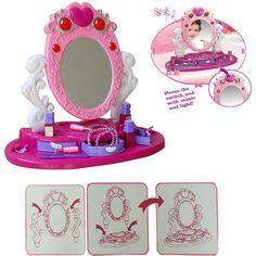 Girls Kids Glamour Mirror Beauty Makeup Dresser Toy W/ Light U0026 Music Play  Set