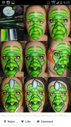 Great one stroke dragon face painting design Monster Face Painting, Dragon Face Painting, Face Painting For Boys, Face Painting Tips, Face Painting Tutorials, Face Painting Designs, Paint Designs, Painting Techniques, Body Painting