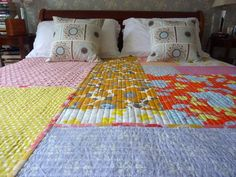"""Random Big Pieces of Fabric"" quilt - easy and pretty"