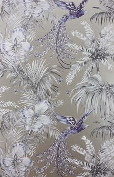 An ornamental trellis design by Matthew Williamson, named after a garden in Shanghai. Have you thought about wallpaper accessories? Blue Grey Wallpaper, Fish Wallpaper, Beach Wallpaper, Bedroom Wallpaper, Wallpaper Online, Wallpaper Samples, Pattern Wallpaper, Wallpaper Ideas, Matthew Williamson